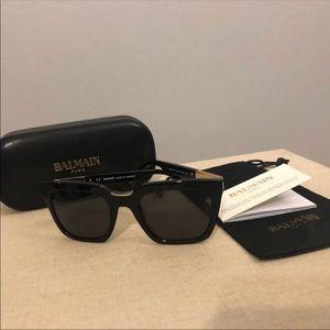 BALMAIN Black Square Acetate Sunglasses
